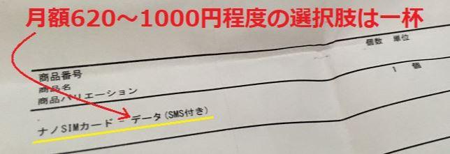 データSIM(SMS付)の620円~1000円程度の選択肢は一杯