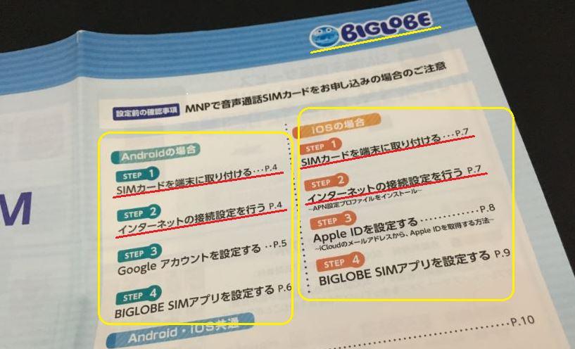 BIGLOBE SIMの冊子の初期設定でやる事の目次が書かれている部分