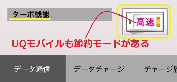 UQモバイルも節約モードがある