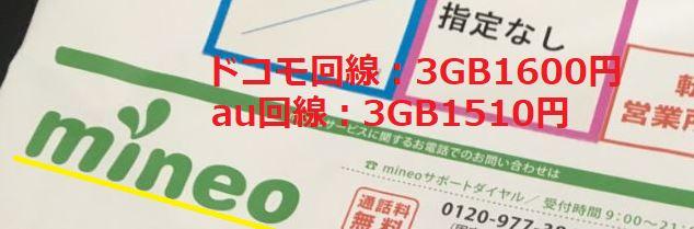 mineoのドコモ回線3GBは1600円、au回線は3GB1510円