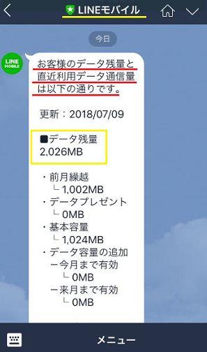 LINEモバイルのデータ残量をLINEのトーク上で確認している画面