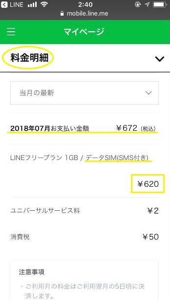 LINEモバイルの利用明細。1GBデータSIM(SMS付き)で620円で、月額税込672円。