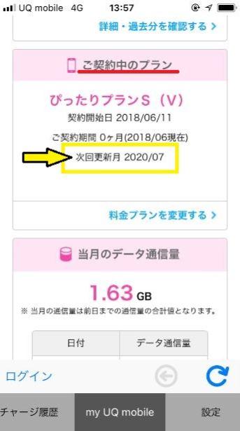my UQ mobileの次回更新月が確認できる画面