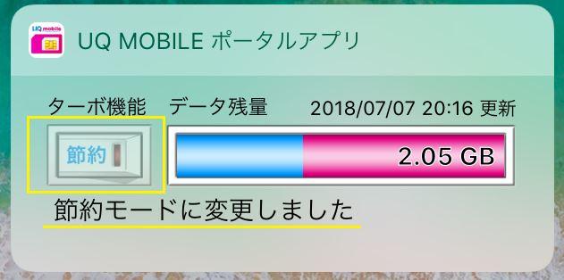 iPhoneでのUQmobileの節約モードの画面
