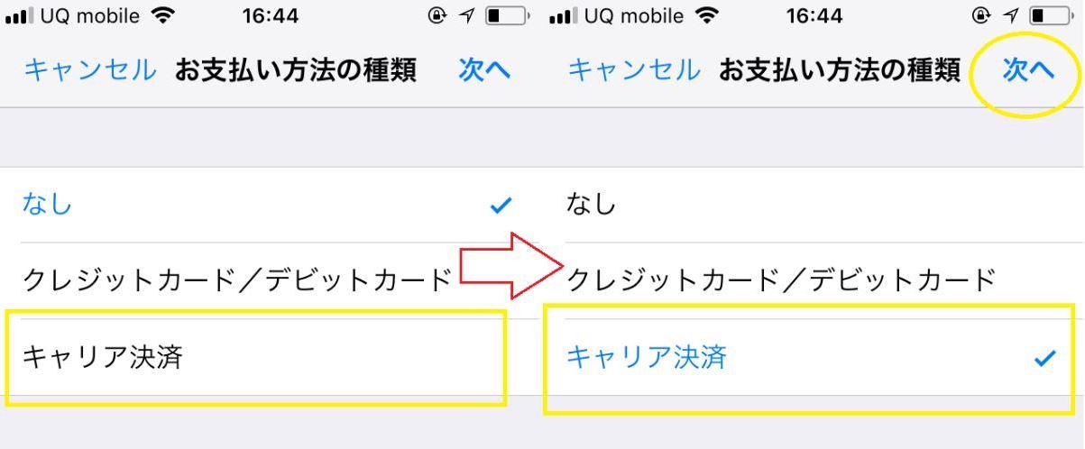 iPhoneのお支払い方法の種類でキャリア決済を選択し次へを押す画面